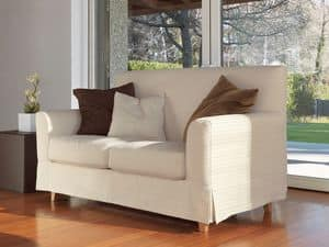 Maiorca, Linear sofa, feet in solid beech, for modern living room