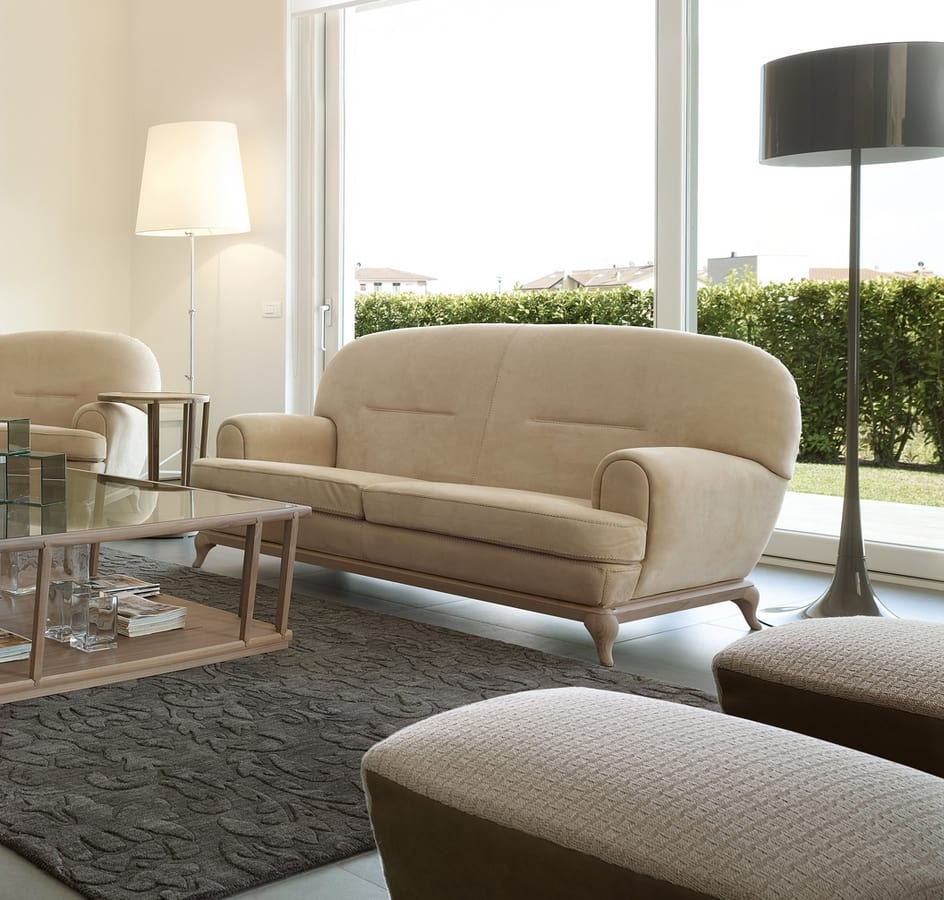 Massenet sofa, Contemporary sofa with rounded lines