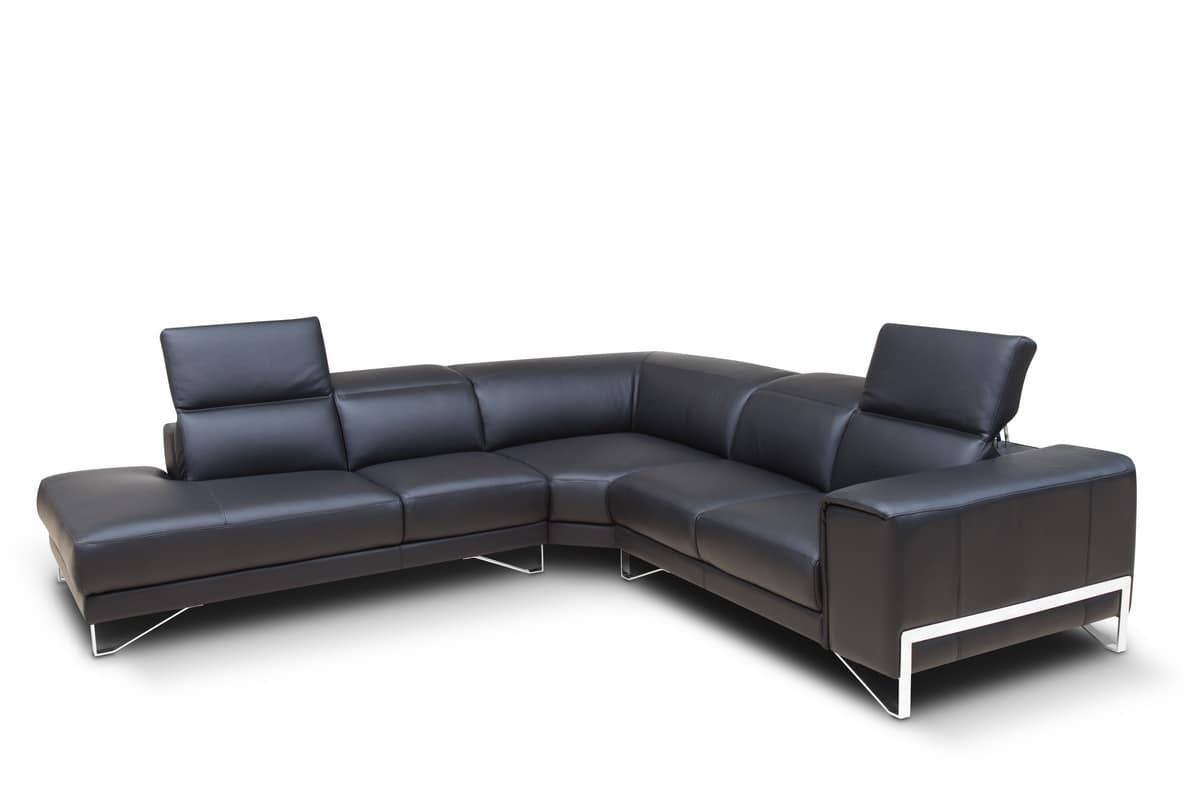 Corner modular sofa, in leather and polyurethane | IDFdesign