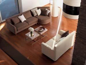 Minorca corner, Corner sofa, with removable fabric, for living room