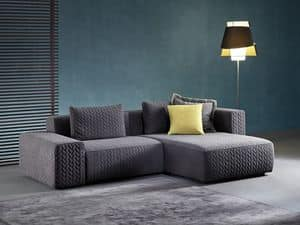 Moore, Sofa with peninsula, sprung with elastic straps