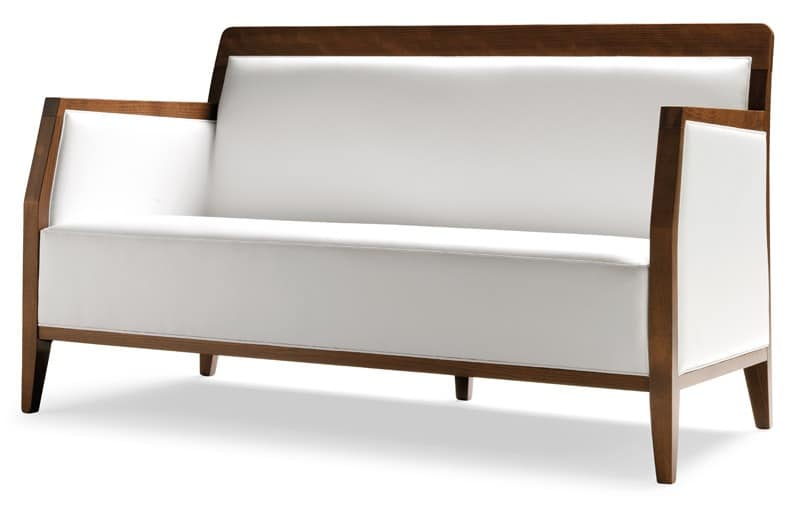 PL 49 EN, Linear sofa in wood, leather upholstery