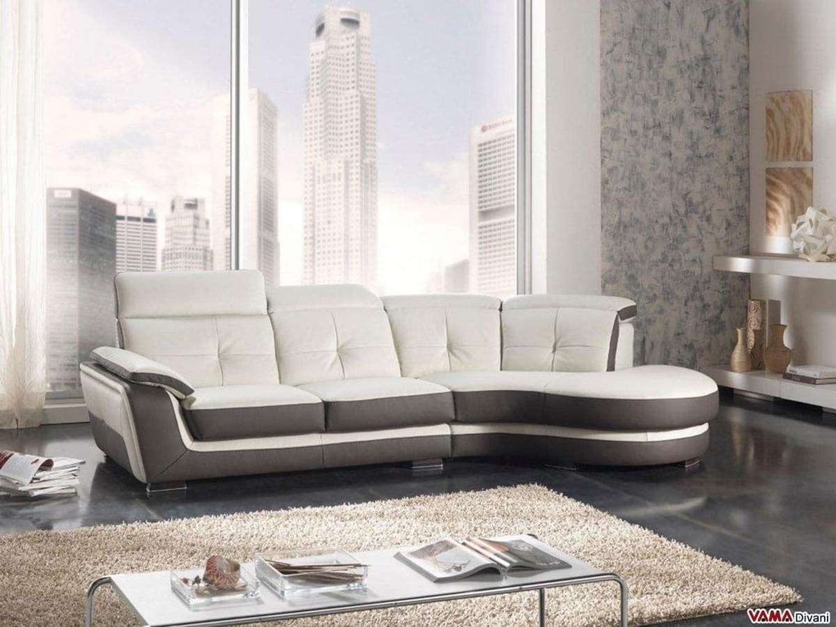 Ralf, Corner semicurve sofa with peninsula and reclining back