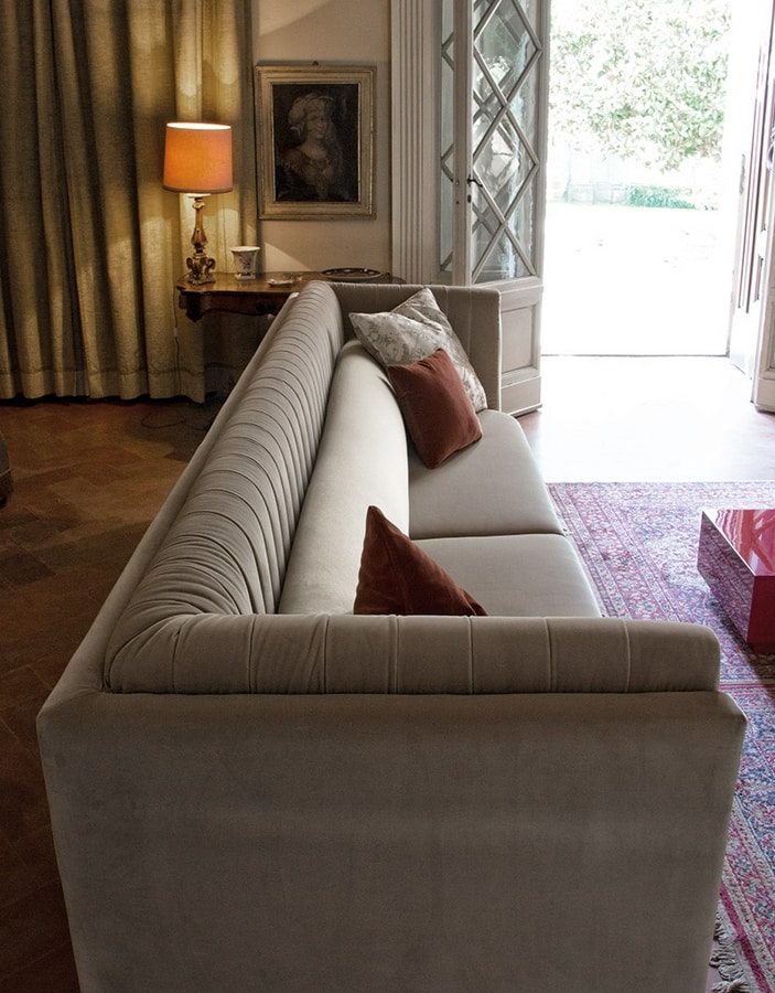 Riva sofa, Contemporary sofa, completely covered in fabric