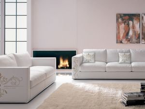 Santiago customized 01, Special sofa in printable leather, in modern style