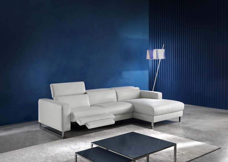 Sidney, Modern sofa with peninsula, padded