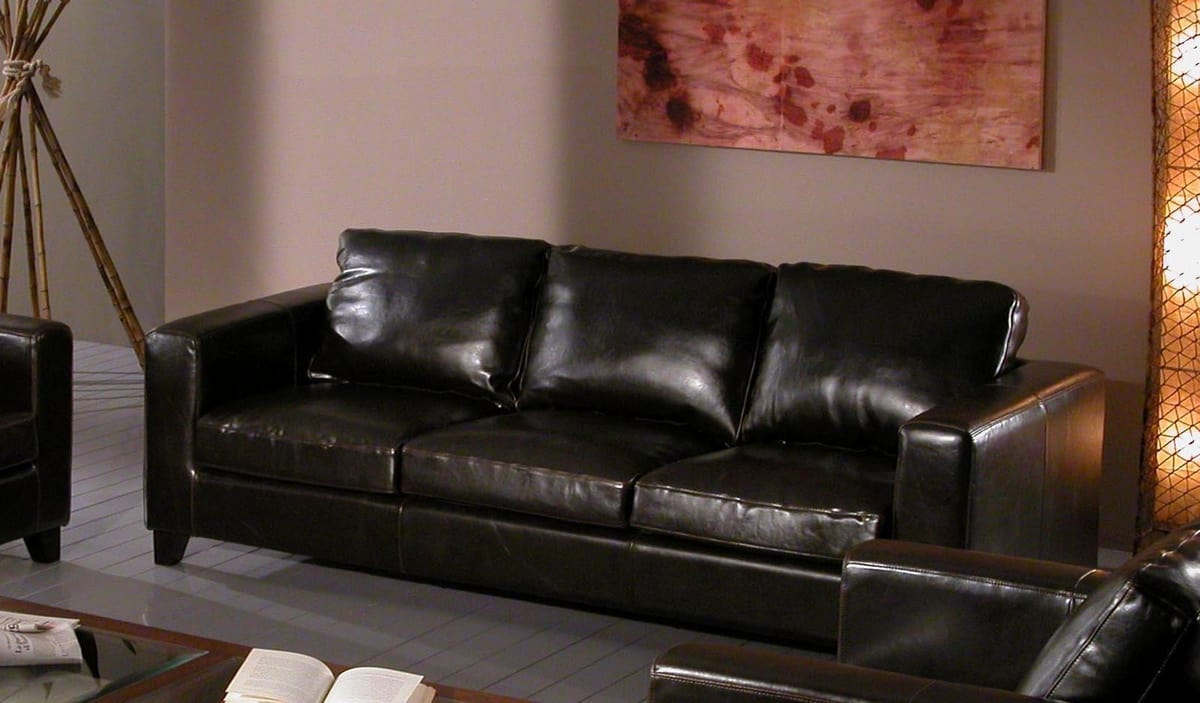 Sofa Chicago, 3 seater sofa in black leather
