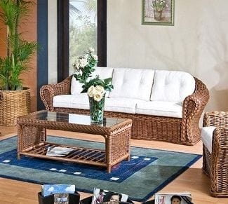 Sofa Peony, 3 seater sofa in wicker