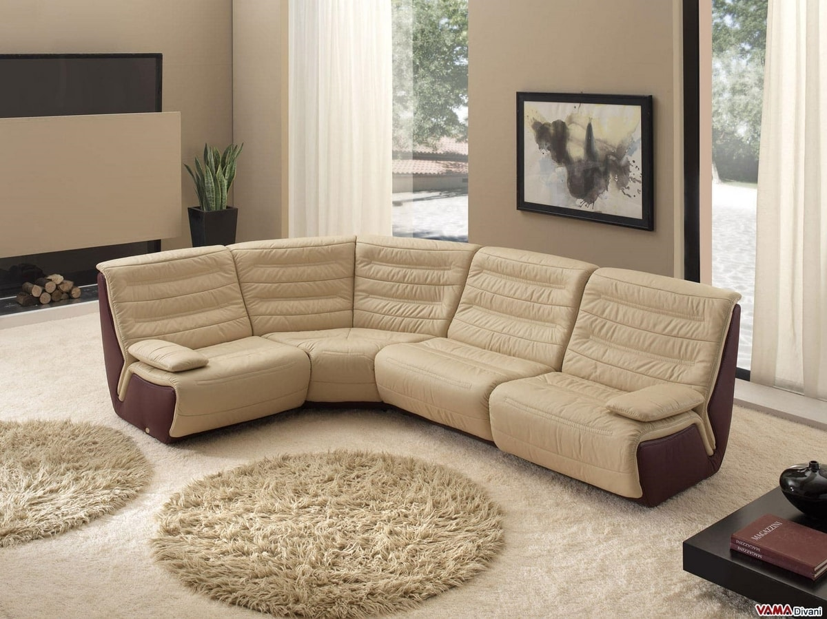 Spartaco, Modular corner sofa with removable armrests