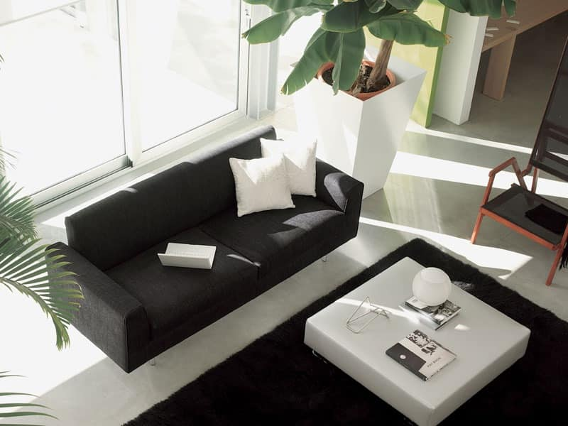 Step, Modern sofa, leather-wrapped, for elegant living room
