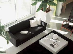 Step, Modern sofa, leather-wrapped, for elegant living room