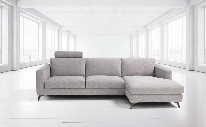 Stromboli, Modern sofa with steel feet