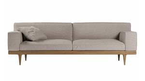 Sunday sofa, Elegant sofa with base in Canaletto walnut