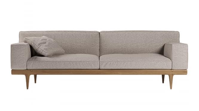 Sunday sofa, Elegant sofa with base in Canaletto walnut