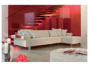 Tharros corner, Corner sofa with wooden frame, for residential use