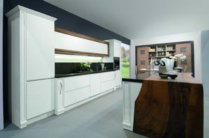 Alhena kitchen, Hand-lacquered kitchen with island counter