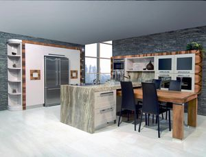 N�scira kitchen 100, Kitchen with peninsula, with marble top, glossy dove gray lacquer