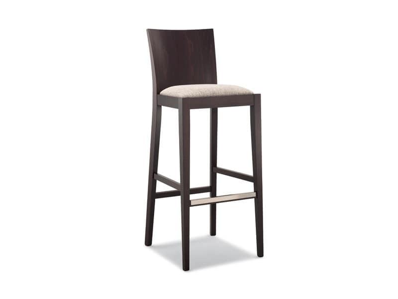161 SG, Wooden barstool, padded seat, for modern bar