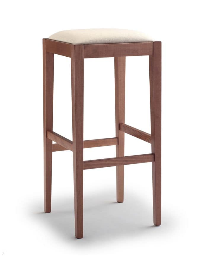 252 bis, Beech barstool without backrest, with upholstered seat