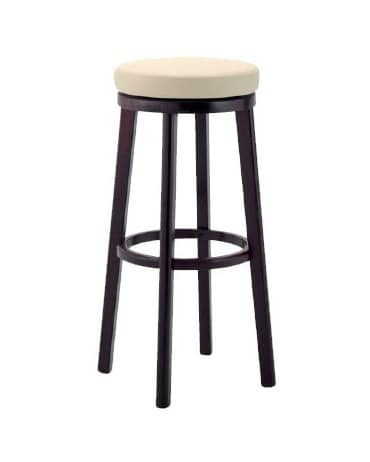 297, Stool in wood with upholstered seat for bars and pubs