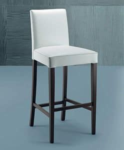 300 barstool, Contemporary barstool made of beech wood, with upholstered back