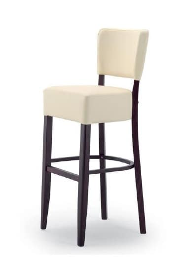 303, Stool in wood with upholstered seat and backrest