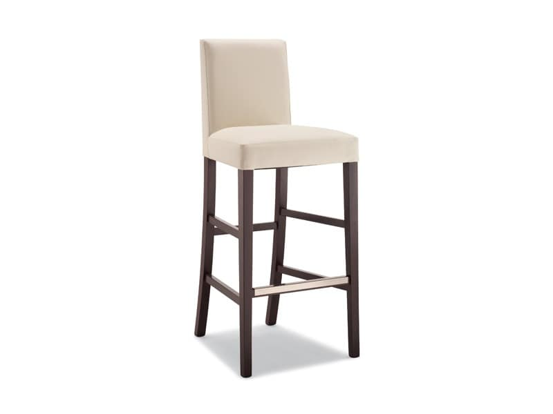 Antony SG, Contemporary padded barstool in wood, metal footrest