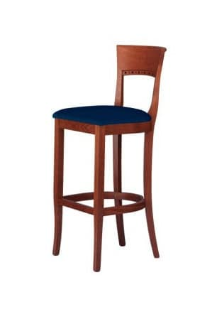 C17 SG, Barstool in solid wood, with upholstered seat
