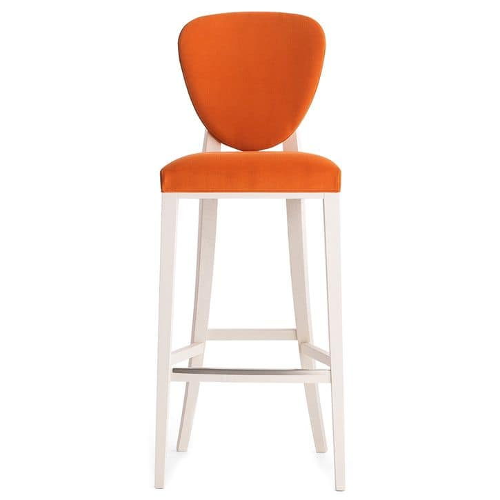 Cammeo 02681 - 02691, Barstool in solid wood, upholstered seat and back, fabric covering, modern style