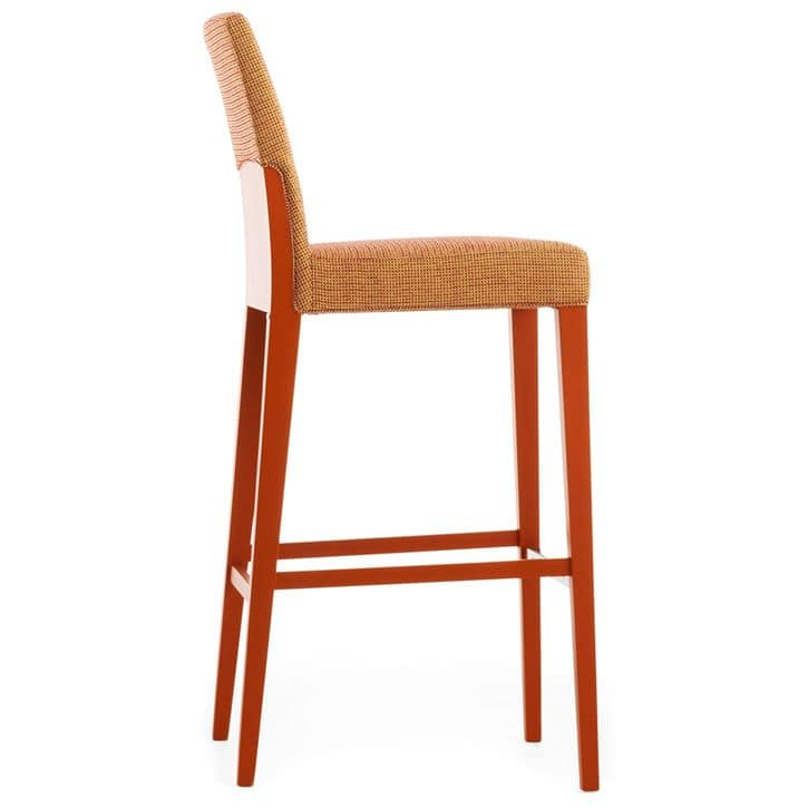 Charme 02581, Barstool in solid wood with padded seat and backrest