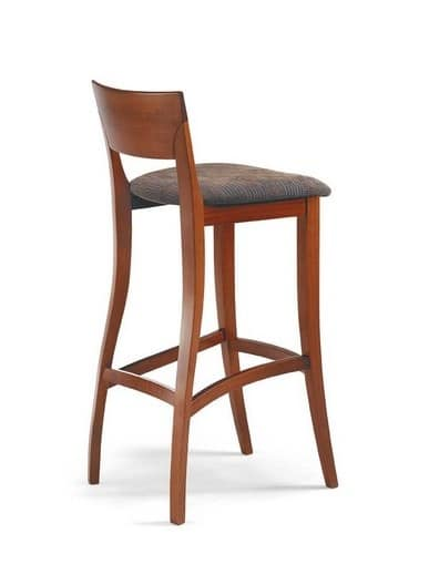 Egle SG, High stool in beech, with upholstered seat, for kitchens