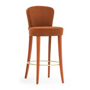 Euforia 00181, Barstool in solid wood, upholstered seat and back, covered with fabric, modern style