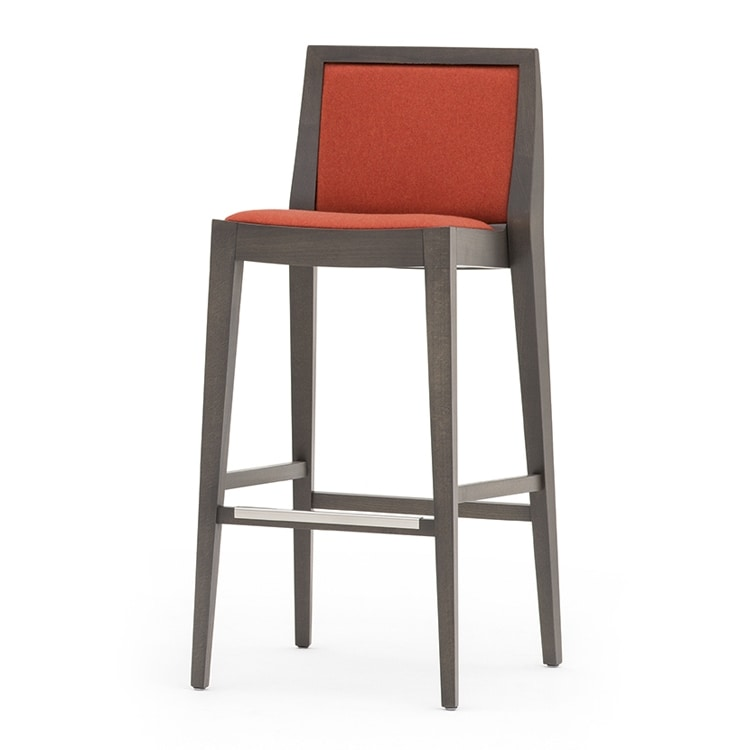 Flame 02181, Barstool in solid wood, upholstered seat and back, fabric covering, steel footrest, for contract use