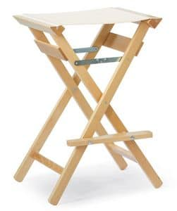 High Stool P, Wooden barstool withour backrest, foldable, for outdoors