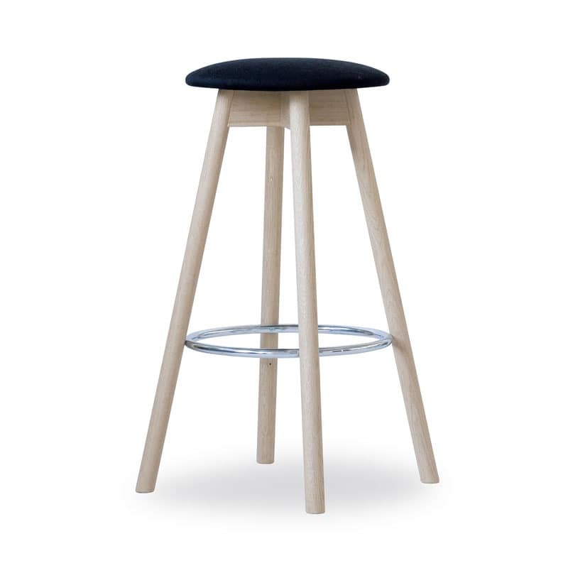 High Stool Tokyo, Practical stool, demountable, made in beech wood, with upholstered round seat