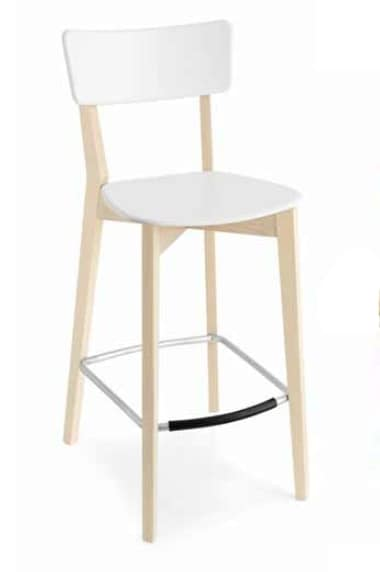 Holly-SG, Contemporary stool in wood and plastic
