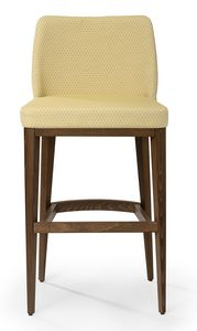 Katel stool B, Upholstered stool with high back