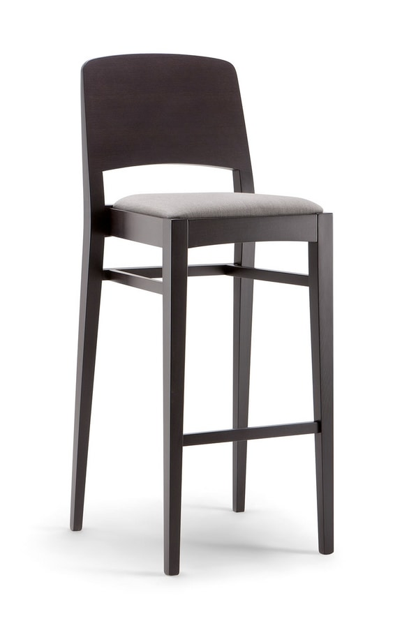 KYOTO BAR STOOL 047 SG, Stool with wooden back