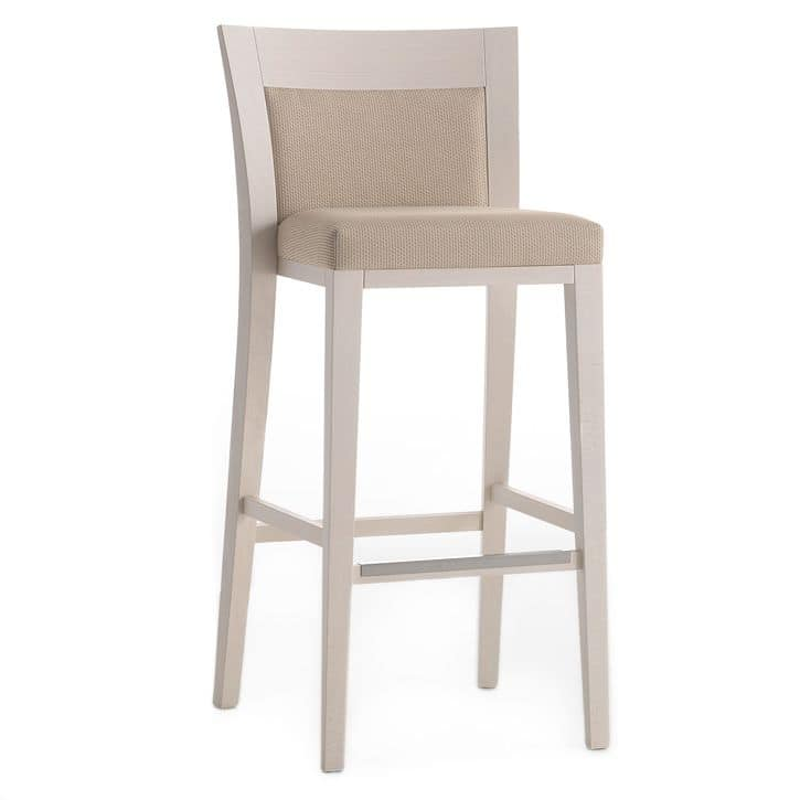 Logica 00982, Barstool in solid wood, upholstered seat and back, fabric covering, with stainless steel kickplate, for contract and domestic environments