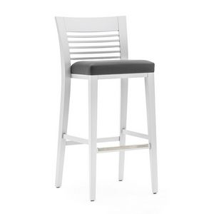 Logica 00985, Barstool in solid wood, upholstered seat, fabric covering, with stainless steel kickplate, for contract and domestic use
