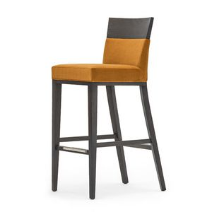Logica 00988, Barstool in solid wood, upholstered seat and back, fabric covering, with stainless steel kickplate, for contract and domestic use