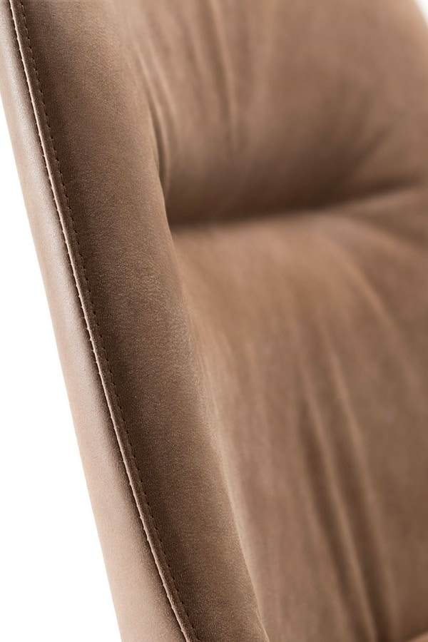 LOTUS BAR STOOL 063 SG, Stool upholstered in leather or fabric