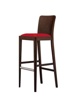 M10 SG, Modern barstool in beech, with metal footrest