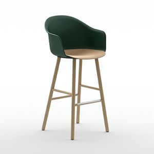 Máni Armshell plastic st 4wl, Stool in wood and polypropylene