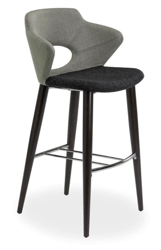 Marala SGFW, Stool in oak and fabric coated with perforated backrest