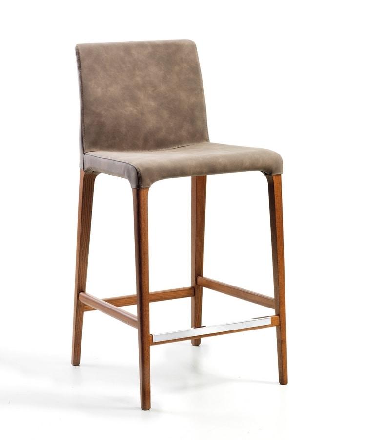 Marostica barstool, Modern stool, with legs in ash wood