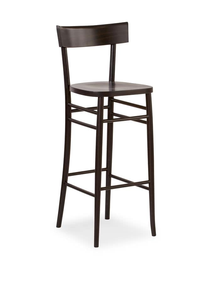 Milano SG, Barstool made entirely of wood, various colours