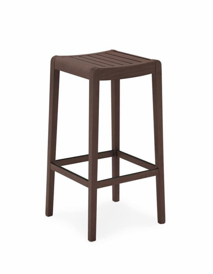 Milo, Modern stool in beech, ideal for kitchen and bar