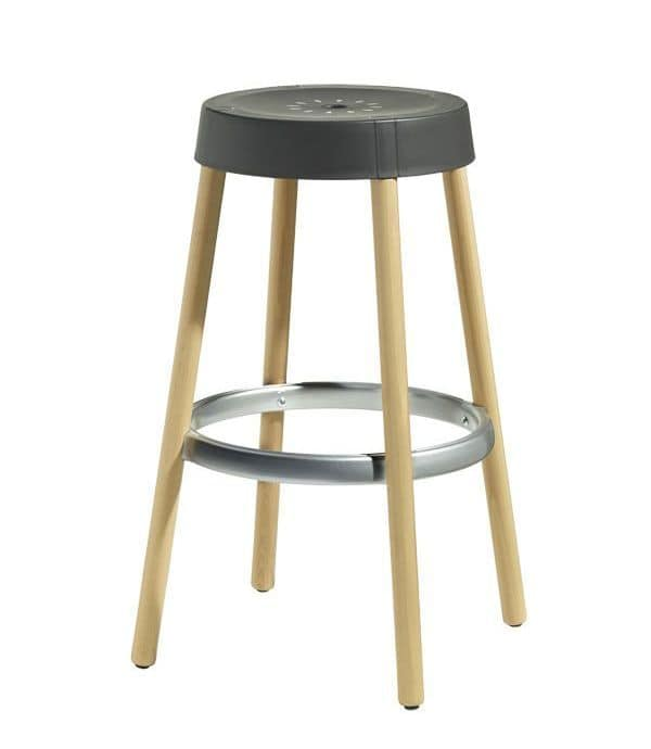 Natural Gim, Design stool in wood and technopolymer, h.75cm