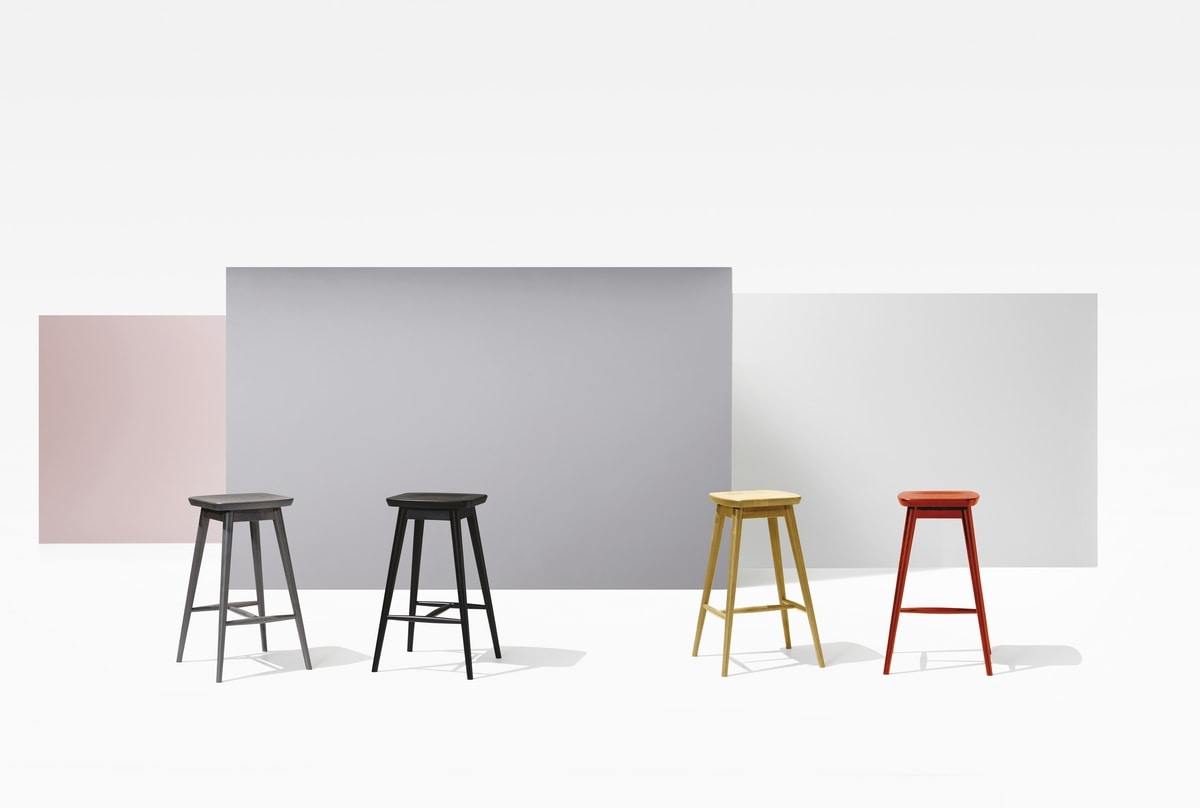 NUVOLA, Stool in beech wood, with footrests, for bars